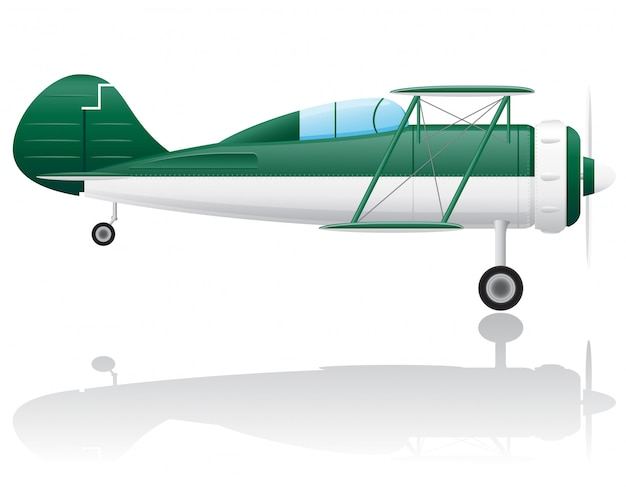 Старый ретро самолет векторная иллюстрация