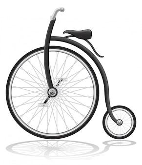 古いレトロな自転車のベクトル図