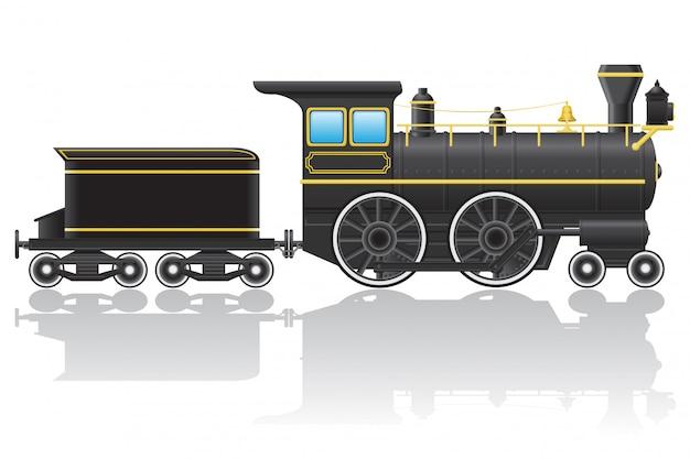古いレトロ機関車のベクトル図