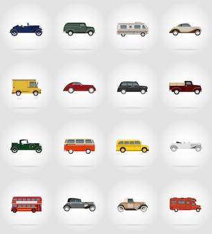 Старый ретро транспорт плоский набор векторных иллюстраций