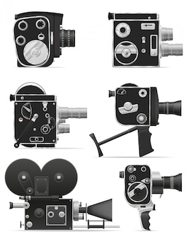 古いレトロビンテージ映画ビデオカメラベクトルイラスト