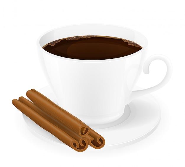 シナモンとコーヒーのカップスティックベクトルイラスト