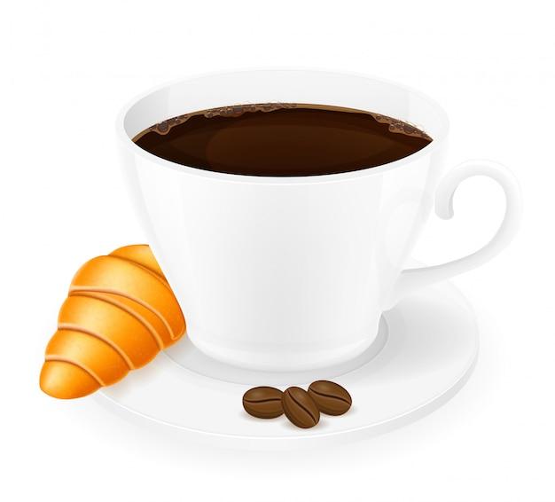 一杯のコーヒーとクロワッサンのベクトル図