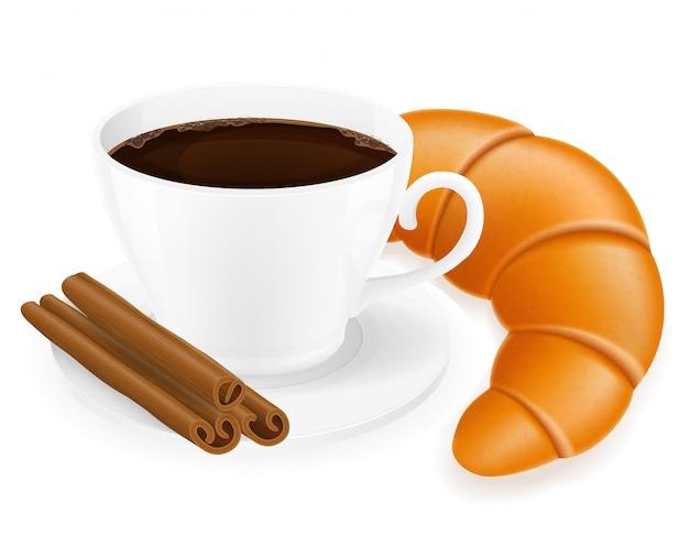 Чашка кофе и круассан векторная иллюстрация