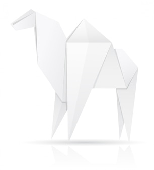 Оригами бумага верблюд векторная иллюстрация