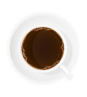 一杯のコーヒートップビューベクトル図