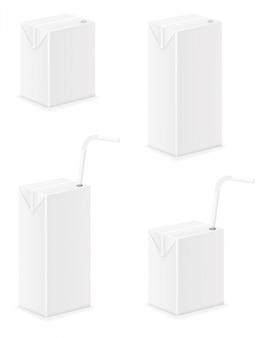 Белая пустая упаковка с соком векторная иллюстрация