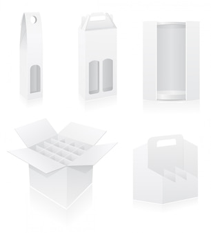 Пустая упаковочная коробка для бутылок, векторная иллюстрация