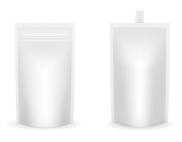 ケチャップやソースのベクトル図の空白の白い包装箔