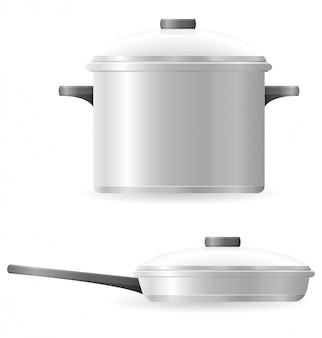 鍋やフライパンの食器ベクトルイラスト