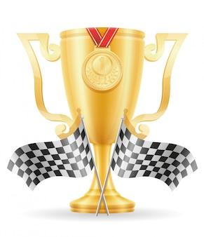 レコーディングカップ勝者ゴールド株式ベクトル図