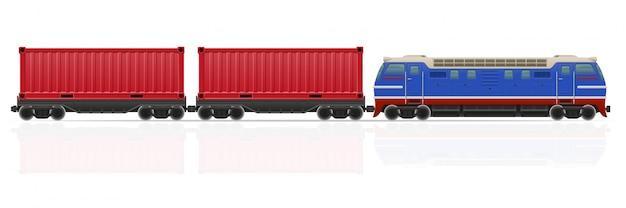 機関車と貨車のベクトル図と鉄道の列車