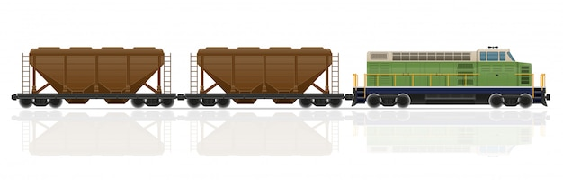 Железнодорожный поезд с локомотивом и вагонами векторная иллюстрация