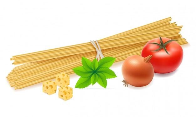 Паста с овощами векторная иллюстрация