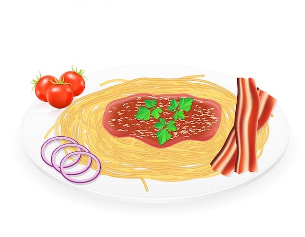 野菜のベクトル図と皿の上のパスタ