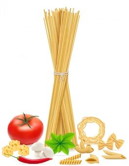 パスタと野菜のベクトル図