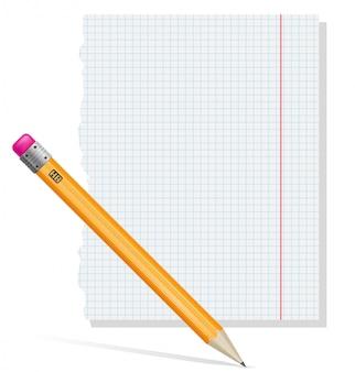 鉛筆と紙のベクトル図