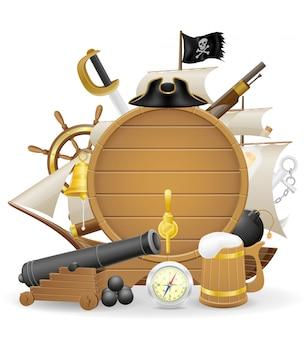 Пиратская концепция элементы векторная иллюстрация