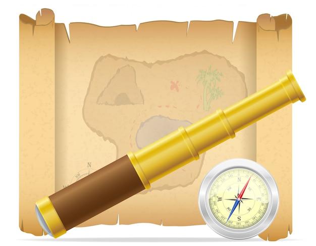 Пиратская карта сокровищ и телескоп с векторной иллюстрацией компаса