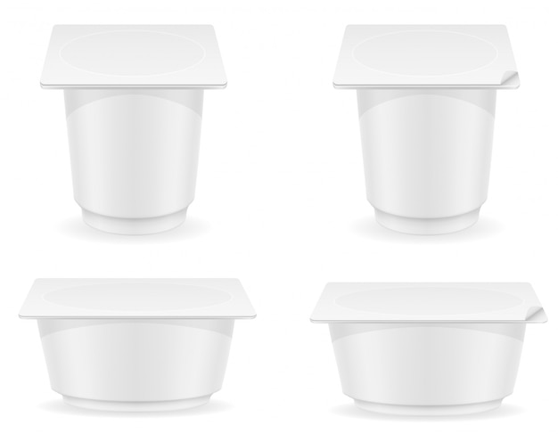 ヨーグルトのベクトル図の白い空白のプラスチック容器