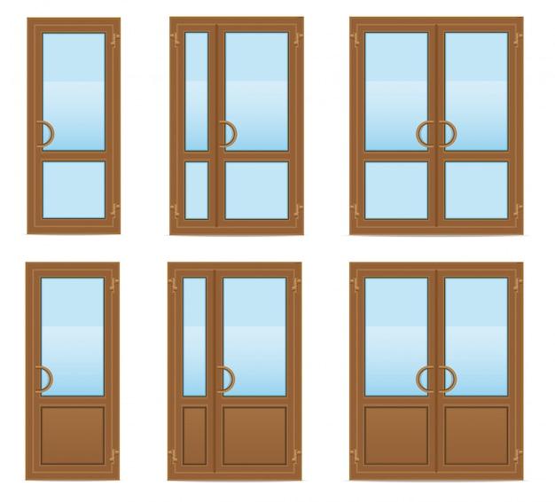 Коричневые пластиковые прозрачные двери векторная иллюстрация