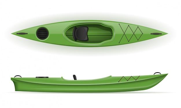 釣りや観光のためのプラスチック製のカヤックベクトルイラスト