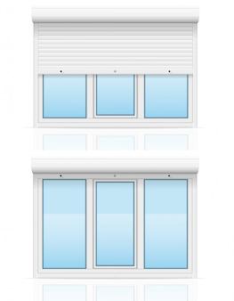 ローリングシャッター付きプラスチック製の窓ベクトルイラスト