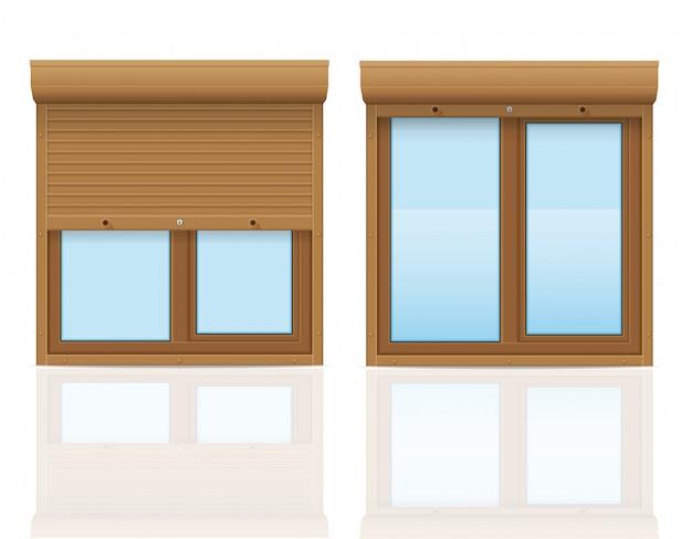 ローリングシャッター付きの茶色のプラスチック製の窓ベクトルイラスト