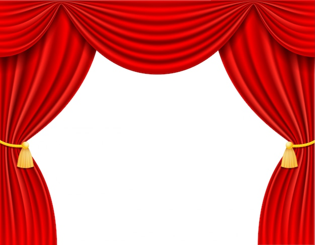 赤の劇場の幕のベクトル図