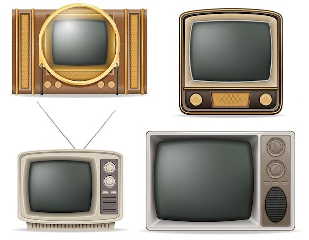 Телевизор старый ретро старинный набор векторные иллюстрации