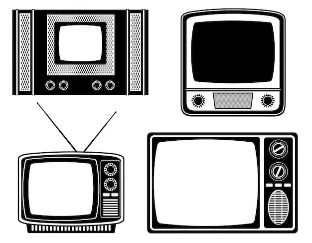 Телевизор старый ретро старинные векторные иллюстрации черный контур силуэта