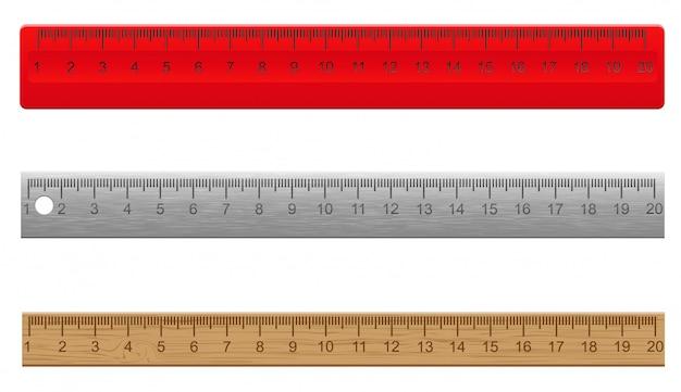 Линейки из пластика деревянные и металлические векторная иллюстрация
