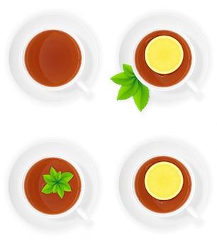 レモンとミントのトップビューベクトル図と磁器のお茶
