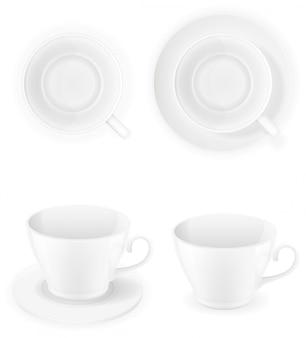 磁器の白いカップトップビューと分離サイドベクトルイラスト