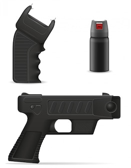 Оружие самообороны для защиты от бандитских атак векторная иллюстрация