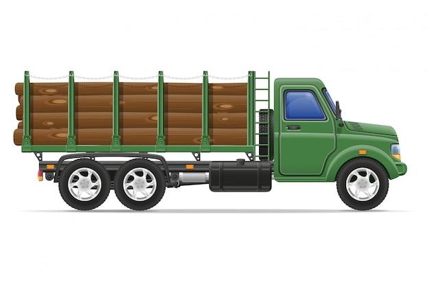 貨物トラックの配送と建設資材の概念ベクトル図の輸送
