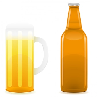 ビール瓶とグラス