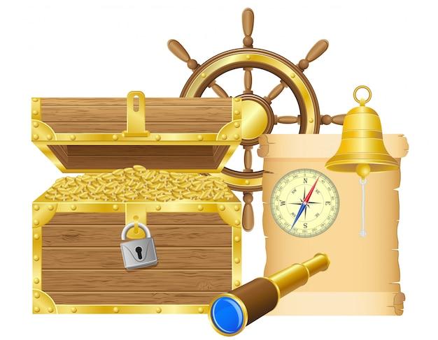 Античный сундук с сокровищами векторная иллюстрация