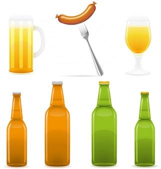 ビール瓶のグラスとソーセージ