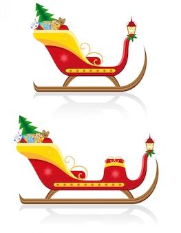 プレゼントとサンタクロースのクリスマスそり