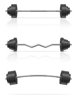 ジムで筋肉を構築するための金属製のバーベル