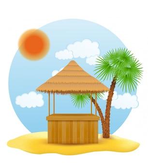 Пляжный киоск-бар для летнего отдыха на курорте в тропиках