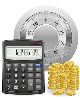 電卓金庫および金貨の概念ベクトル図