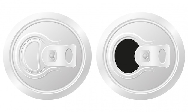Закрытая и открытая банка пива, векторная иллюстрация