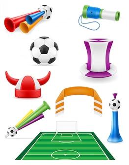 Набор футбольных фанатов предметов и аксессуаров иллюстрации