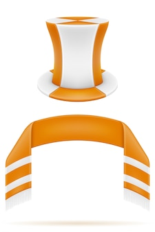 サッカーサッカーファン属性スカーフと帽子の図