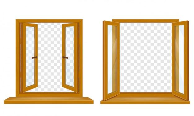 デザインのベクトル図の透明なガラスと木製の窓を開く