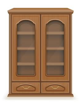 Шкафная мебель из дерева векторная иллюстрация