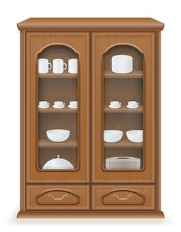 木製のベクトル図から成っている食器棚の家具