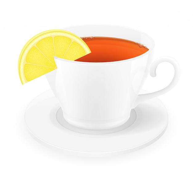 レモンのベクトル図とお茶の磁器カップ